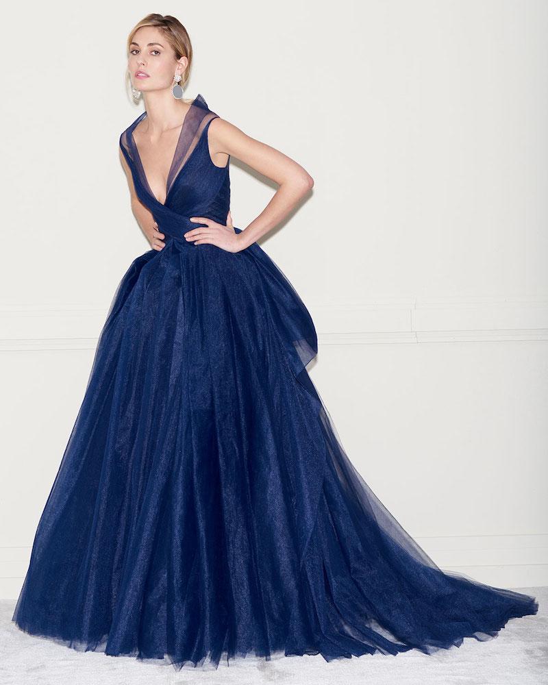 Zac Posen Pleated Tulle Sleeveless Gown with Full Skirt