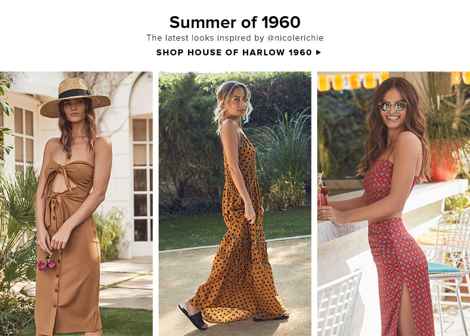 Summer of 1960. The latest looks inspired by @nicolerichie. Shop House of Harlow 1960