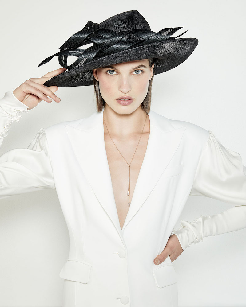 undefined Oval Straw Hat with Self Ribbons