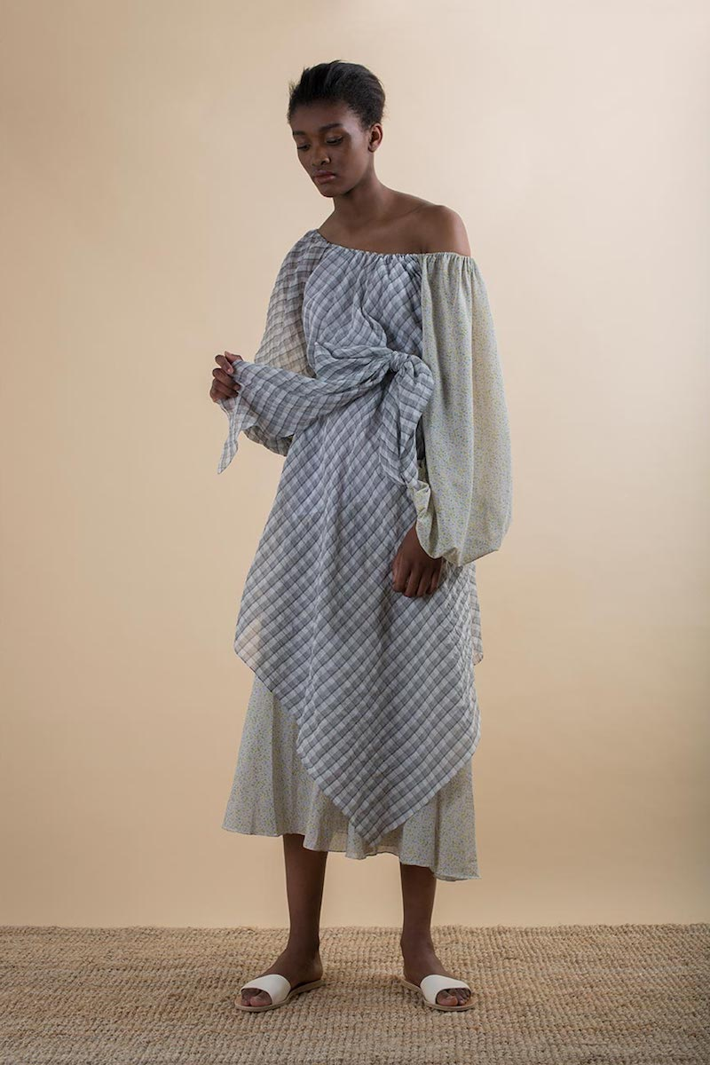 Anna October Off-the-Shoulder Check and Floral-Print Dress