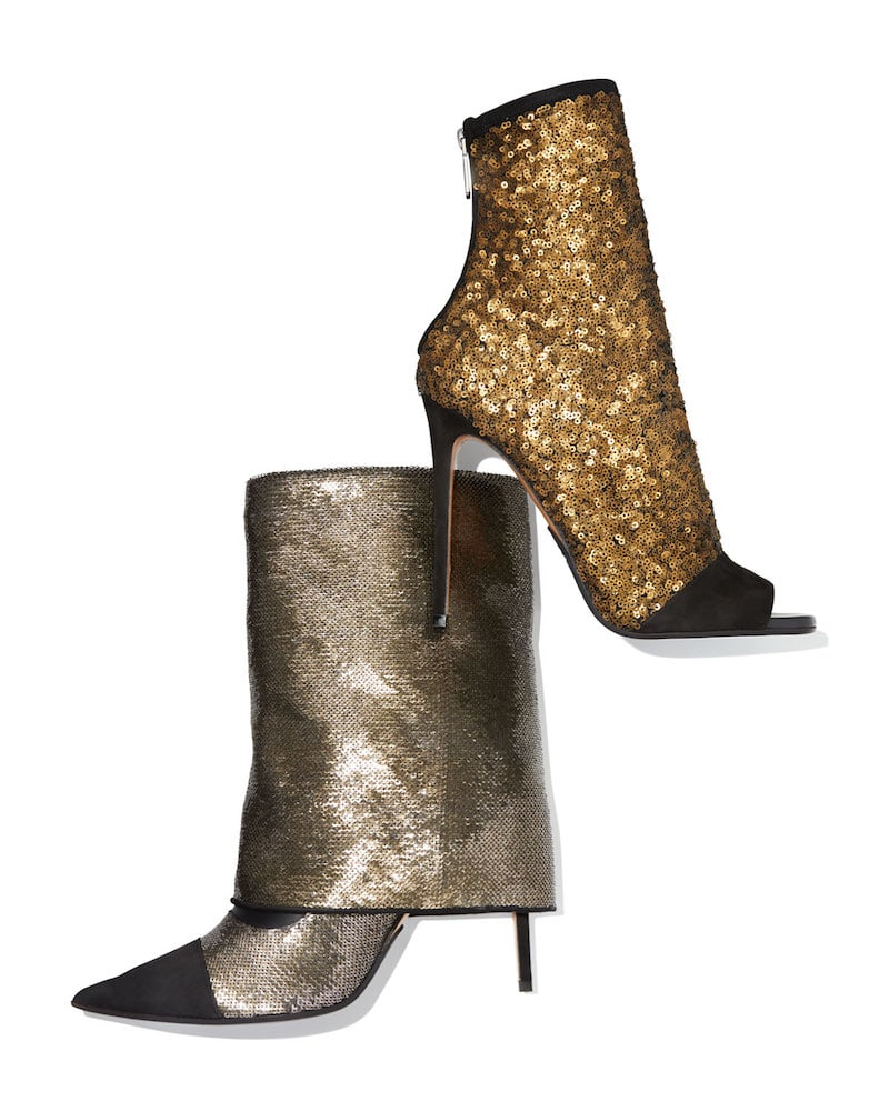 Balmain Bicolor Sleeve Glitter Mid-Calf Boot