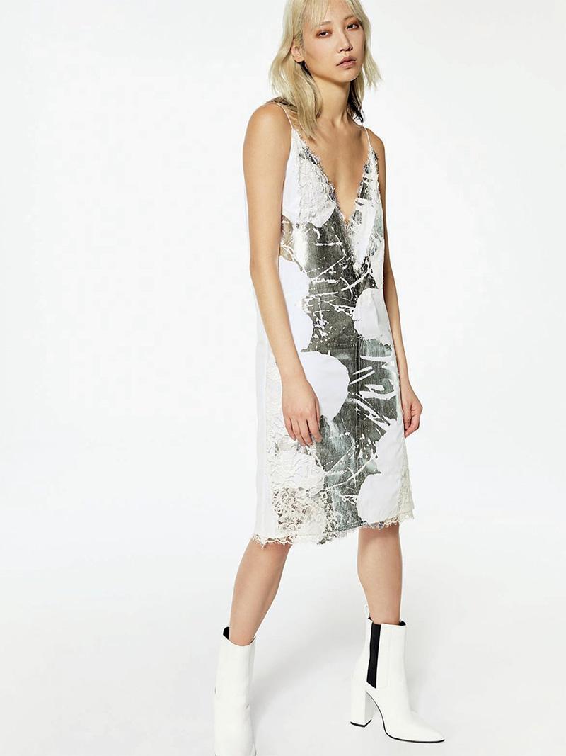 CALVIN KLEIN 205W39NYC Andy Warhol Metallic Digital-Print Cami Dress