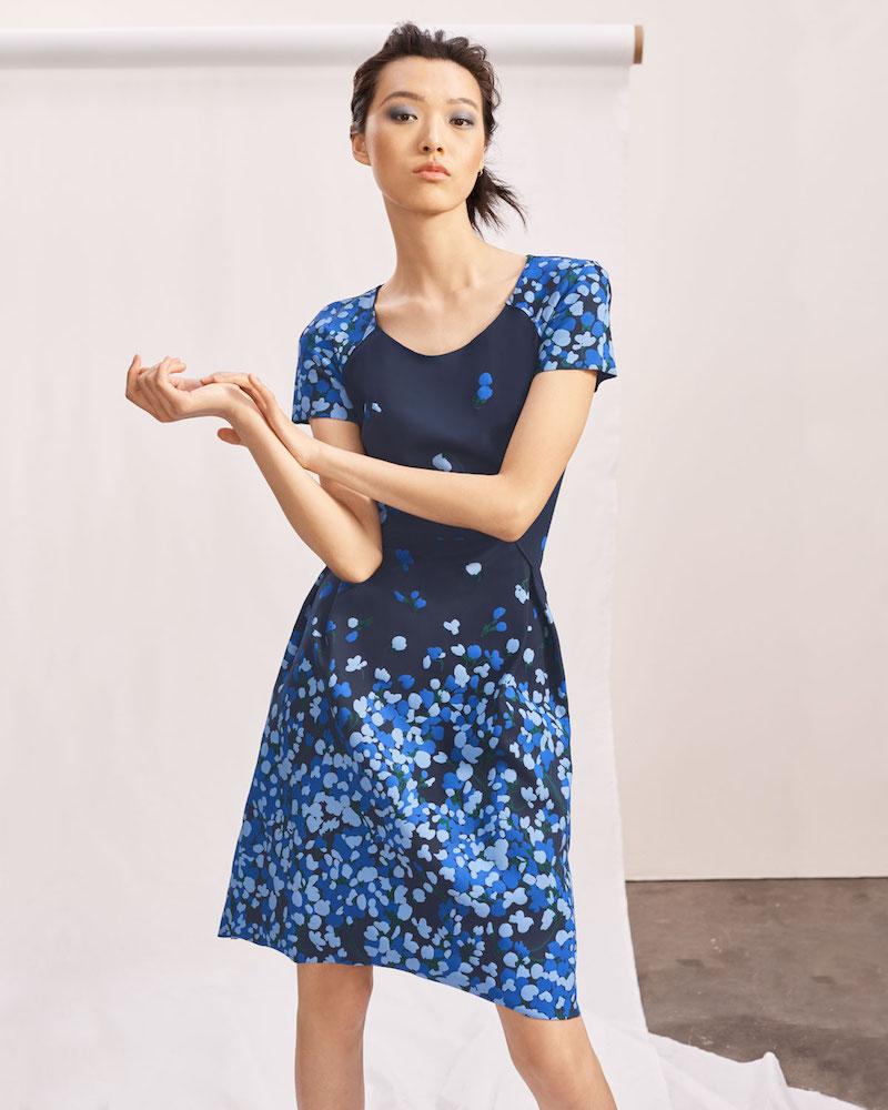 Carolina Herrera Floral Short-Sleeve Stretch Dress