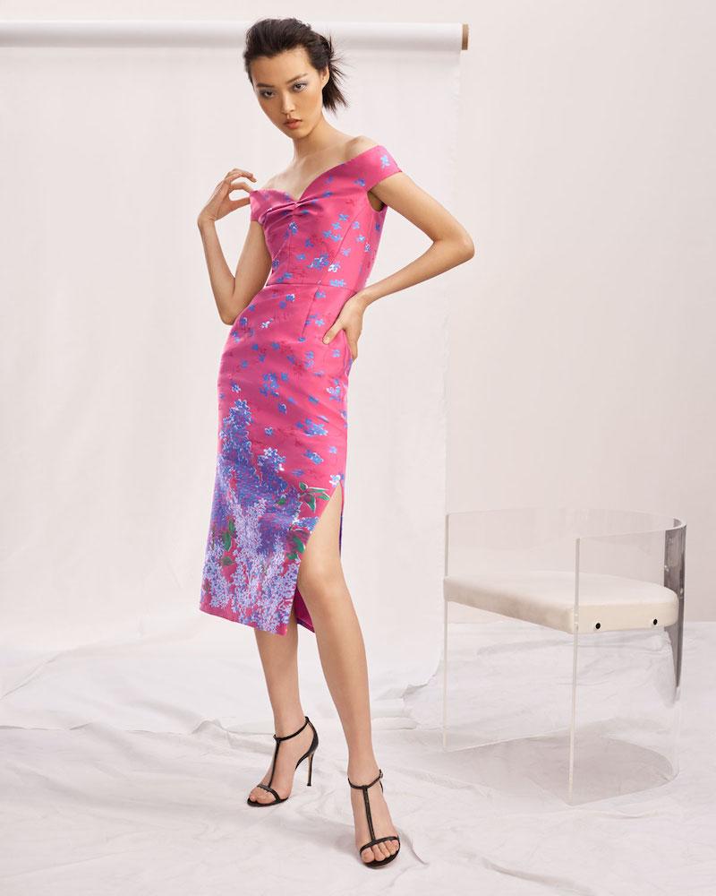 Carolina Herrera Off-the-Shoulder Sweetheart Neckline Floral-Jacquard Cocktail Dress