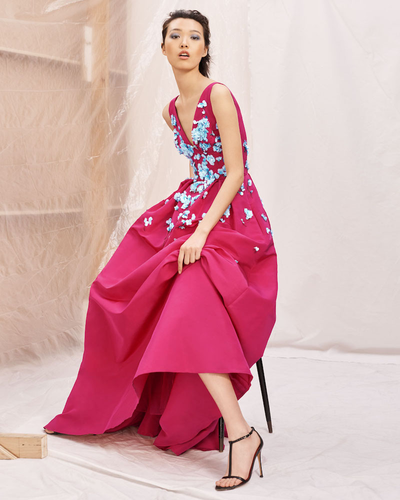 Carolina Herrera Sleeveless V-Neck Full-Skirt Evening Gown with Paillette Embroidery
