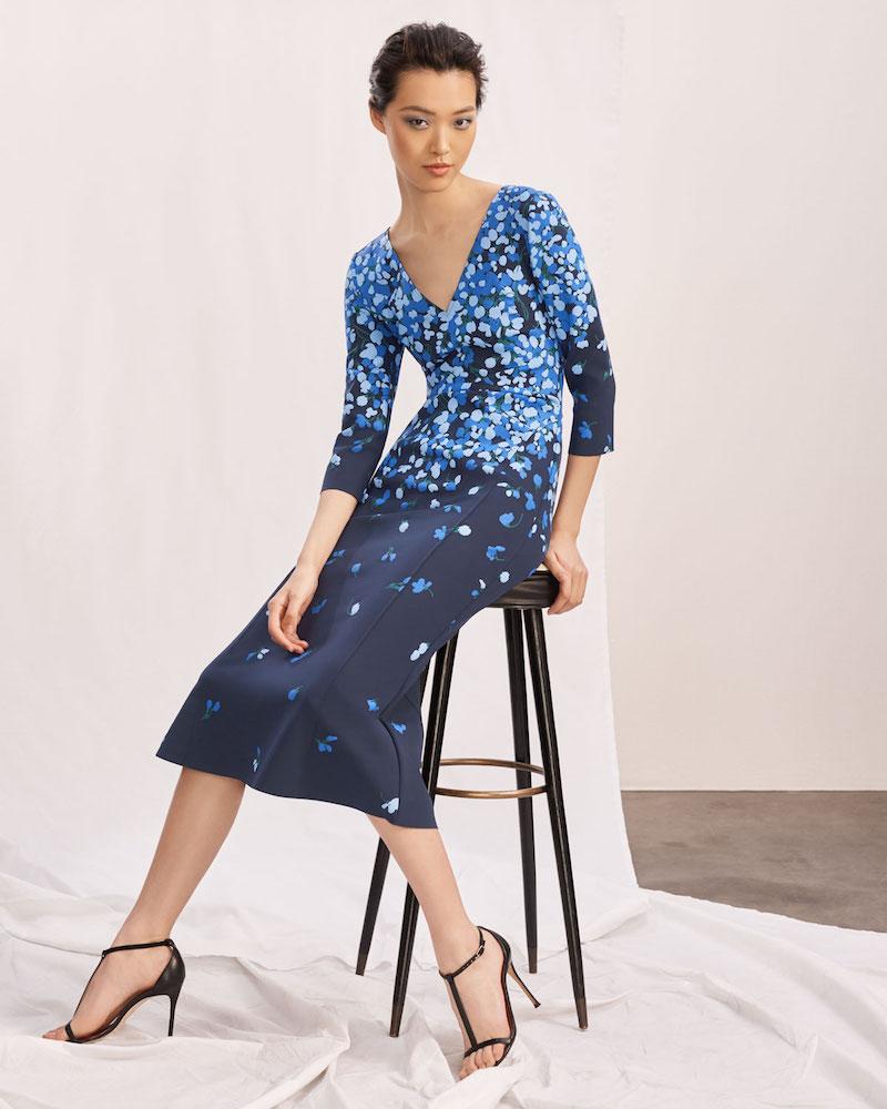 Carolina Herrera V-Neck 3/4-Sleeve Floral-Print Midi Cocktail Dress