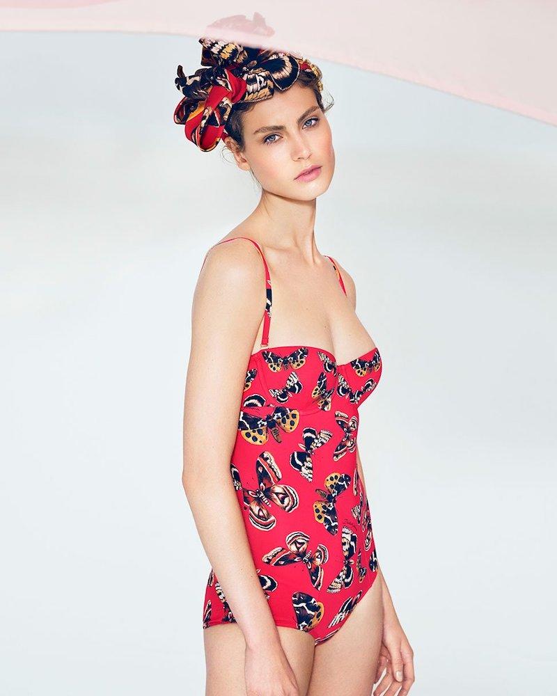 Dolce & Gabbana Butterfly-Print Balconette Swimsuit