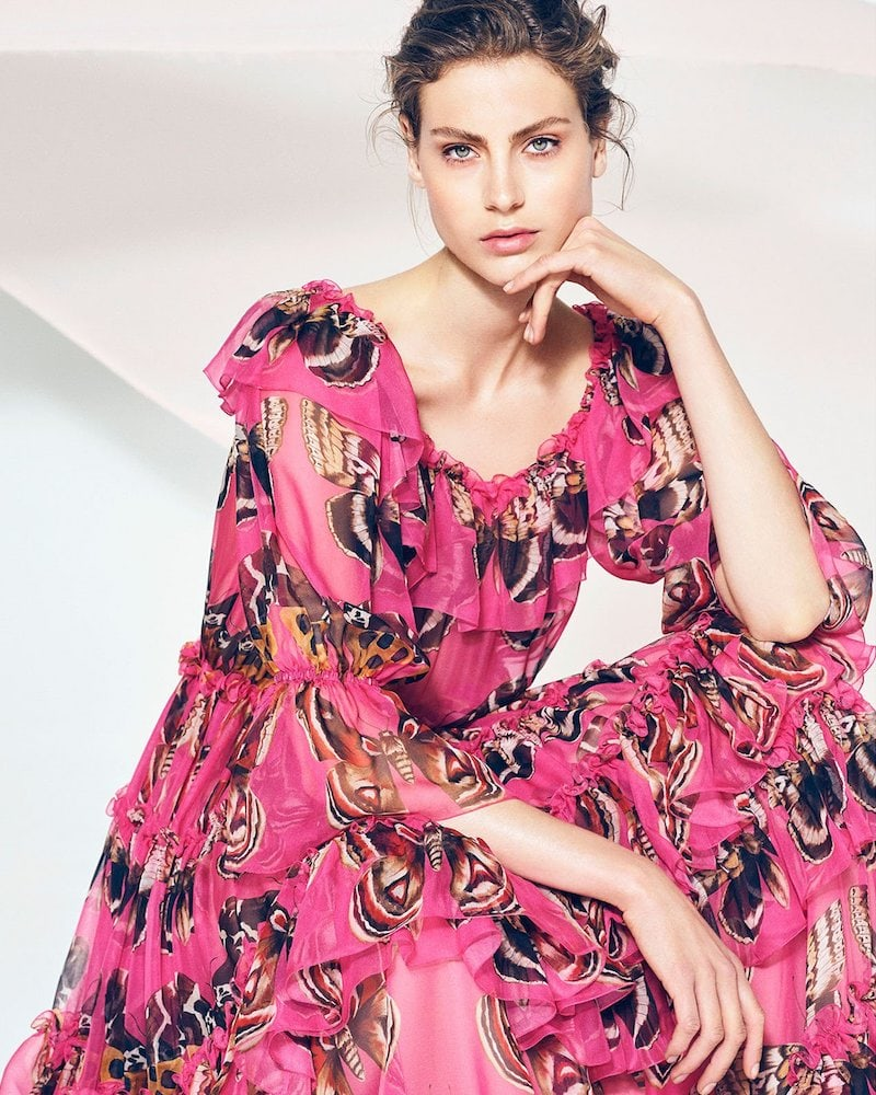 Dolce & Gabbana Floral Print Off-the-Shoulder Chiffon Gown