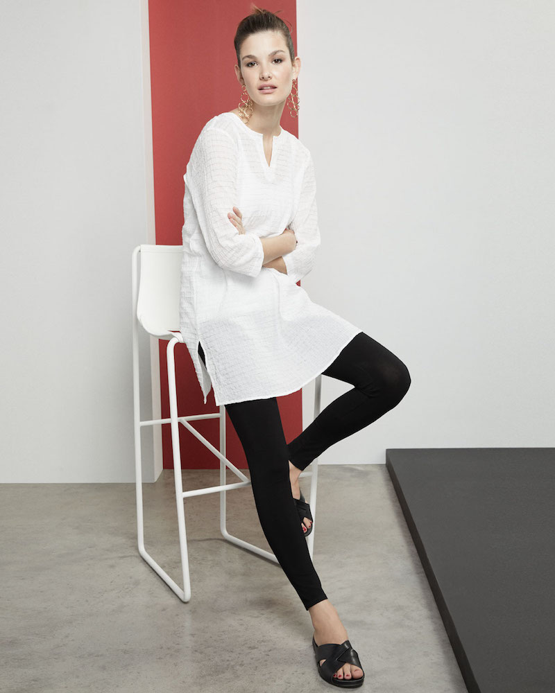 Eileen Fisher Grid-Texture 3 4-Sleeve Organic Cotton Voile Tunic