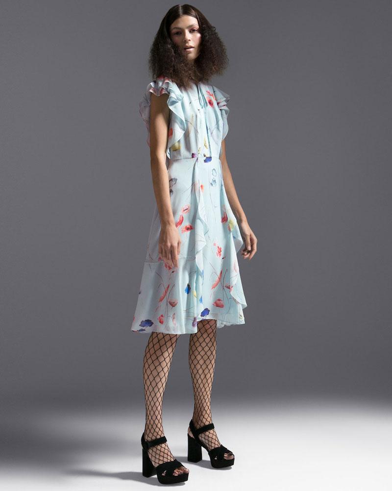 Escada Floral-Print Sleeveless Ruffle Dress