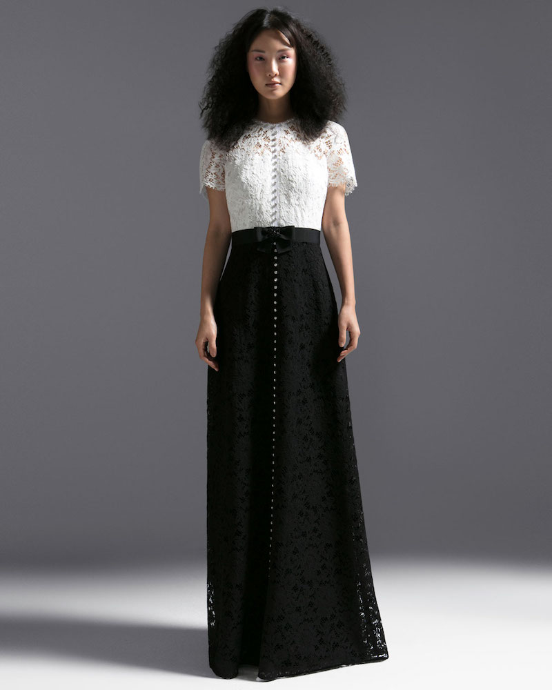 Escada Short-Sleeve Lace Evening Gown with Crystal Detail & Grosgrain Belt