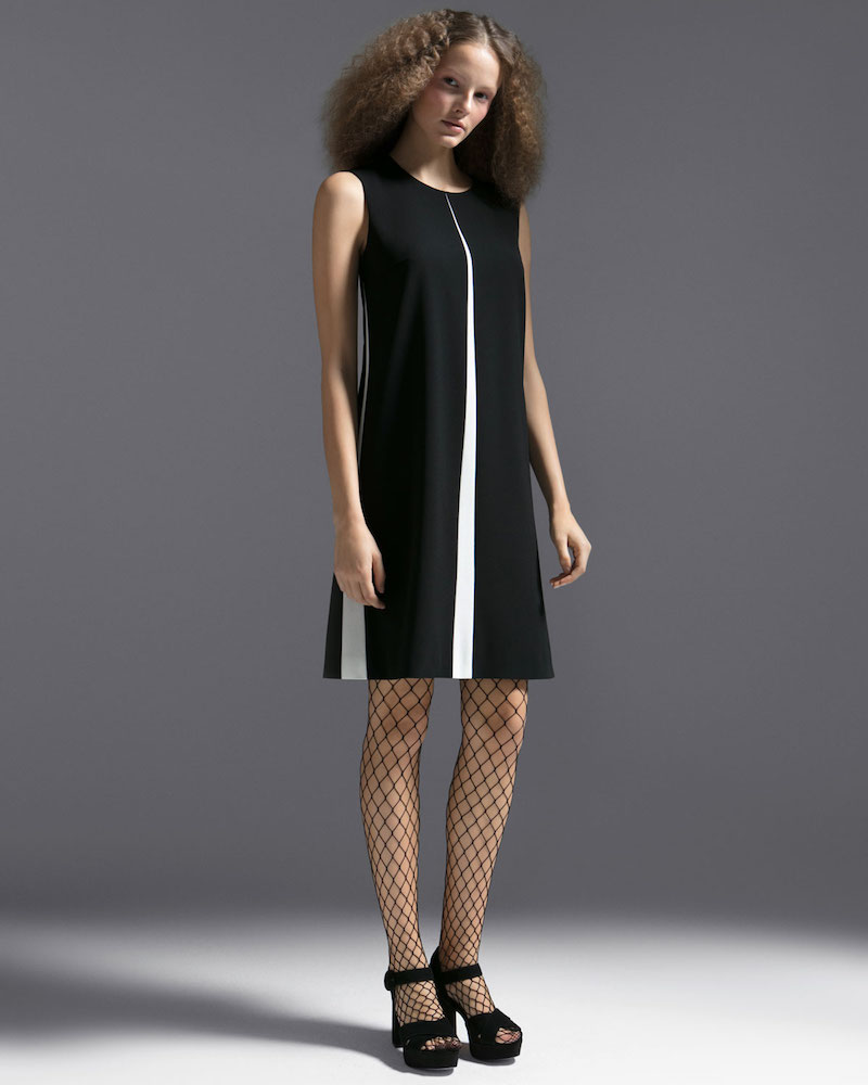 Escada Sleeveless A-Line Chemise Dress with Insets