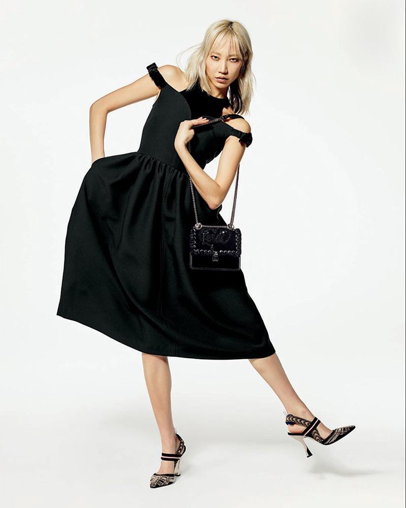 Fendi Cold-Shoulder Wool-Silk Gazar Tea-Length Cocktail Dress