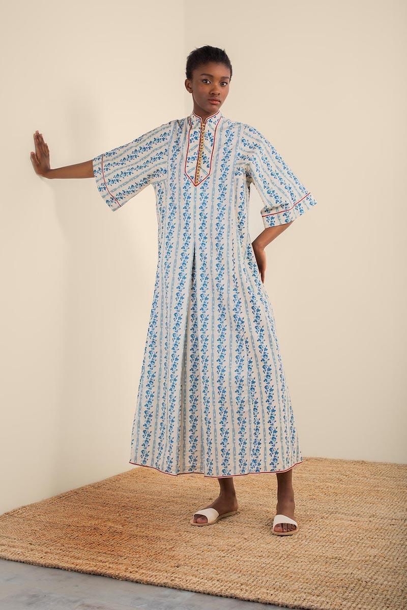 Gucci Rosebud-Print Cotton-Poplin Kaftan Dress