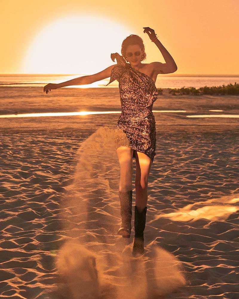 Isabel Marant Synee One-Shoulder Jacquard Mini Dress