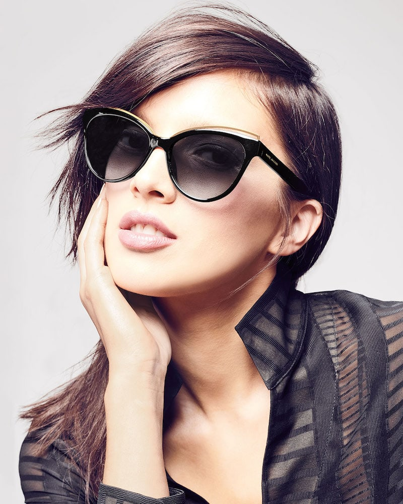 Marc Jacobs Round Acetate Sunglasses with Contrast Brow Detail