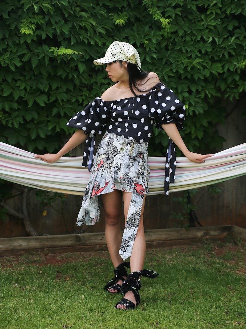 Marques'Almeida Dragon-Print Asymmetric Cotton Skirt