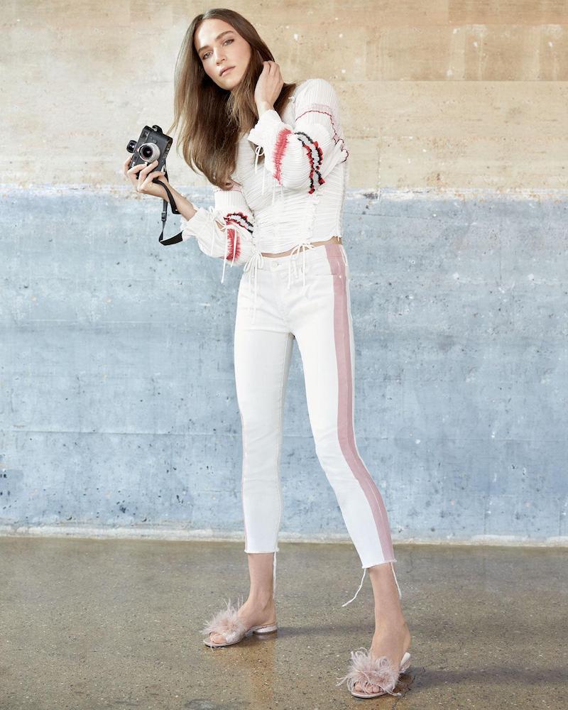 Mother Looker Side-Stripe Ankle Skinny-Leg Jeans