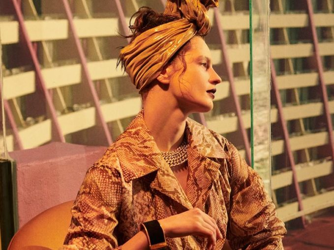Norma Kamali Twist Lame Turban Headband
