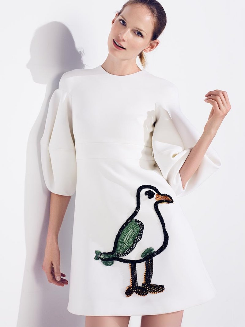 Oscar De La Renta Seagull-Intarsia Stretch-Wool Crepe Cocktail Dress