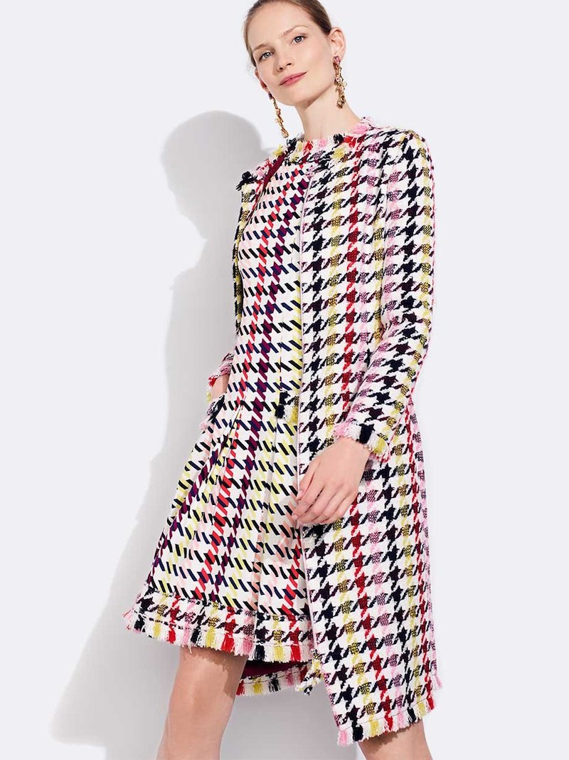 Oscar de la Renta Multicolor Tweed Zip-Front A-Line Coat