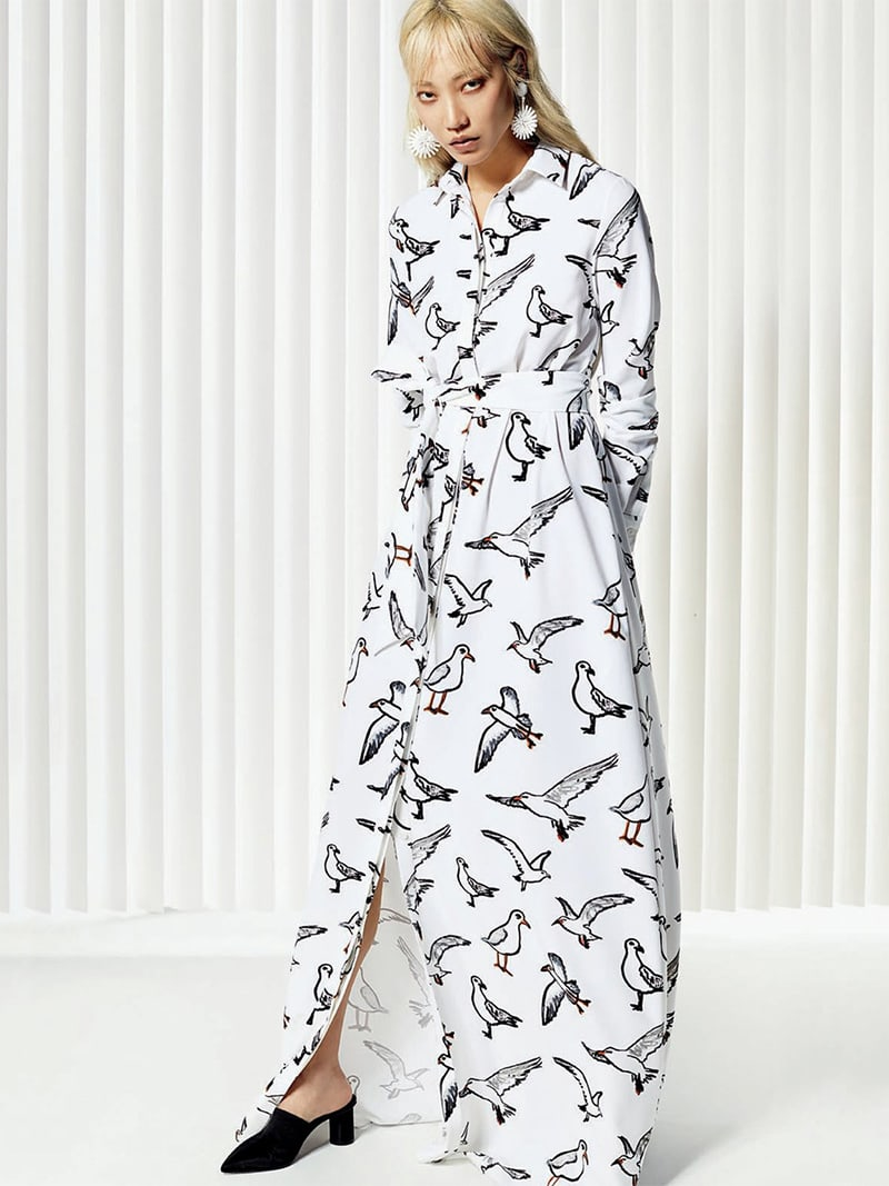Oscar de la Renta Seagull-Print Button-Down Long-Sleeve Tie-Waist Long Dress
