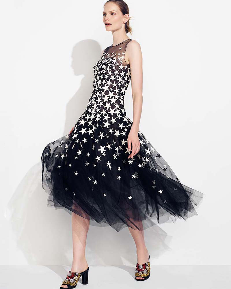 Oscar de la Renta Sleeveless Illusion-Top Starfish-Embroidered Tulle Cocktail Dress