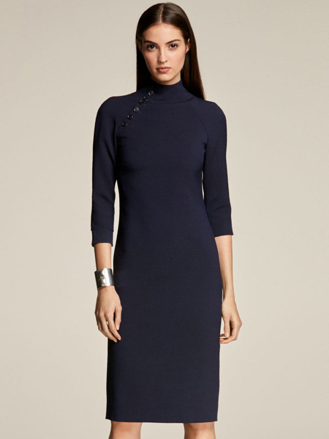 Ralph Lauren Collection Matilda Turtleneck 3 4-Sleeve Wool Midi Dress