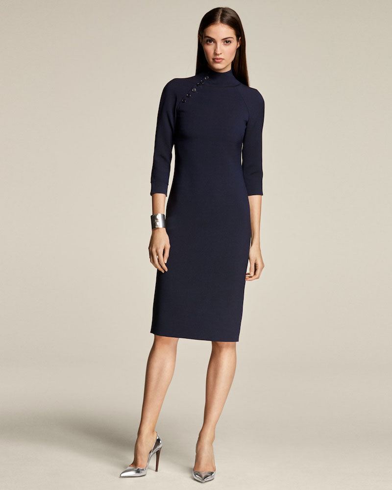 Ralph Lauren Collection Matilda Turtleneck 3/4-Sleeve Wool Midi Dress
