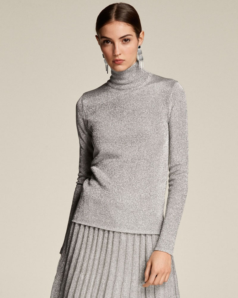 Ralph Lauren Collection Turtleneck Long-Sleeve Metallic-Knit Sweater
