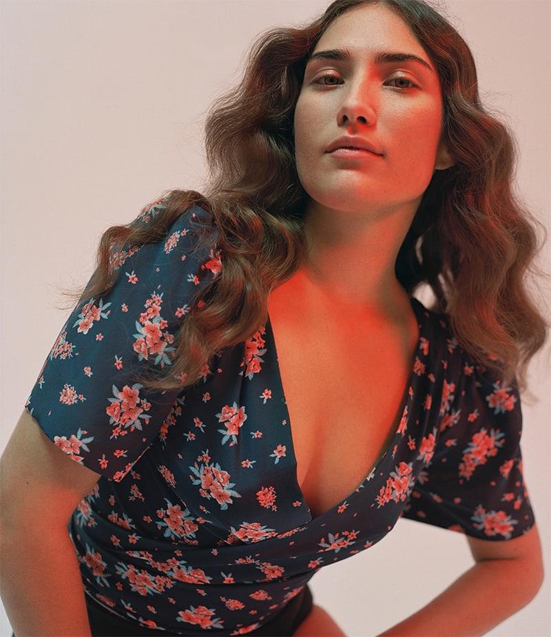 Rebecca de Ravenel Talitha Floral Silk Wrap Crop Top
