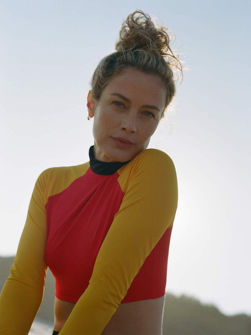 Solid & Striped + RE/DONE The Malibu Cropped Color-Block Rash Guard