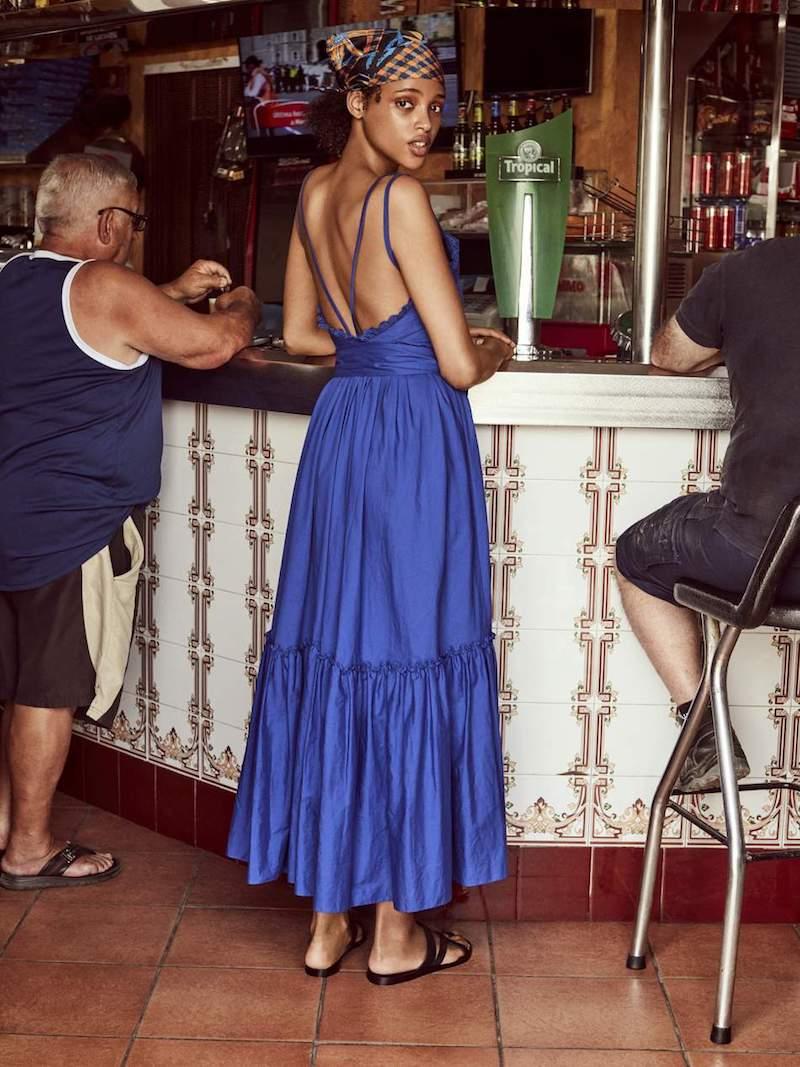 Three Graces London Adriadne Ruffled Cotton-Poplin Maxi Dress