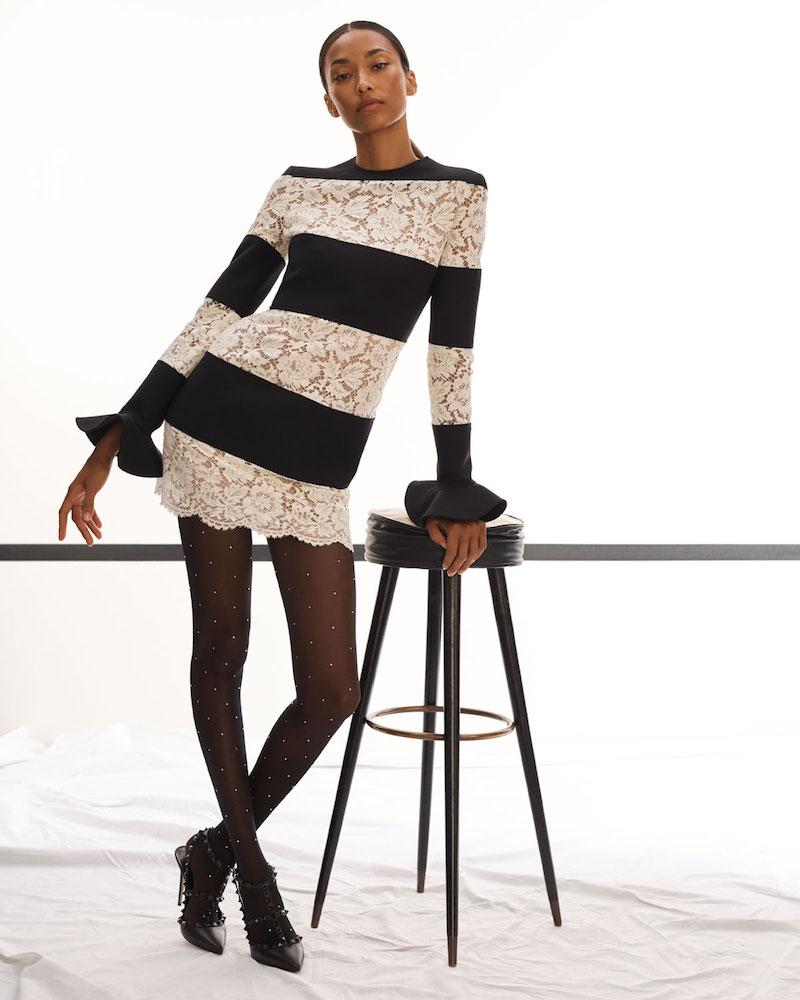 Valentino Long-Sleeve Crepe & Lace Stripe Mini Dress