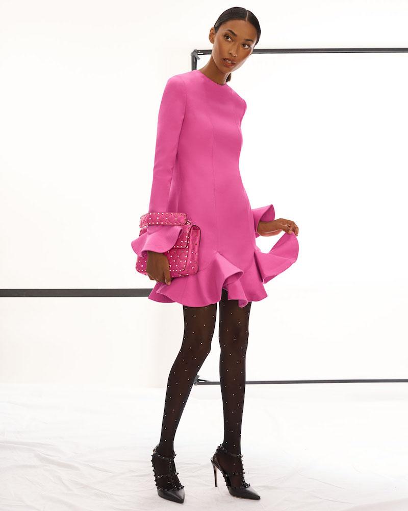 Valentino Long-Sleeve Layered Ruffle Hem Crepe Couture Dress