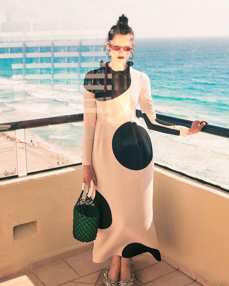 Valentino Polka Dot-Print Crepe Dress