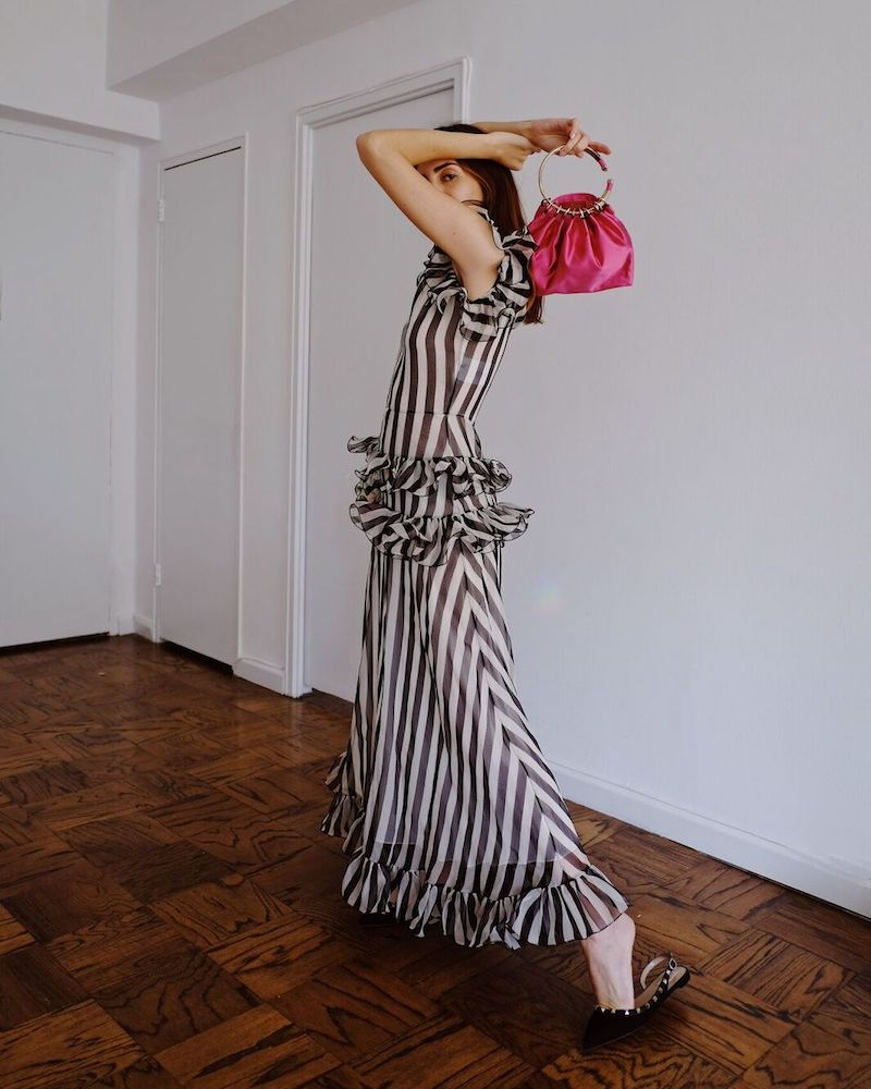 Valentino Sleeveless Striped Silk Organza Long Dress with Ruffled Frills