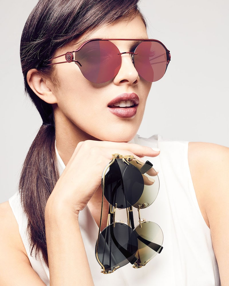 Versace Round Rimless Open-Temple Sunglasses