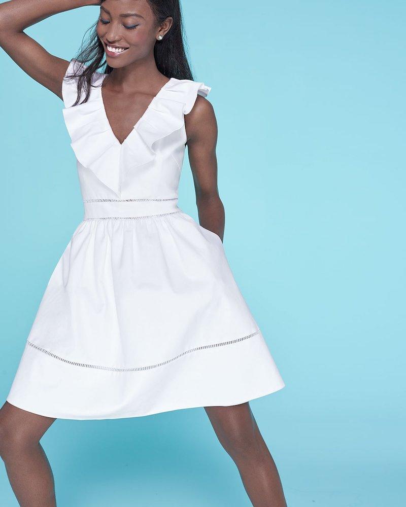 kate spade new york ruffle-neck sleeveless cotton dress