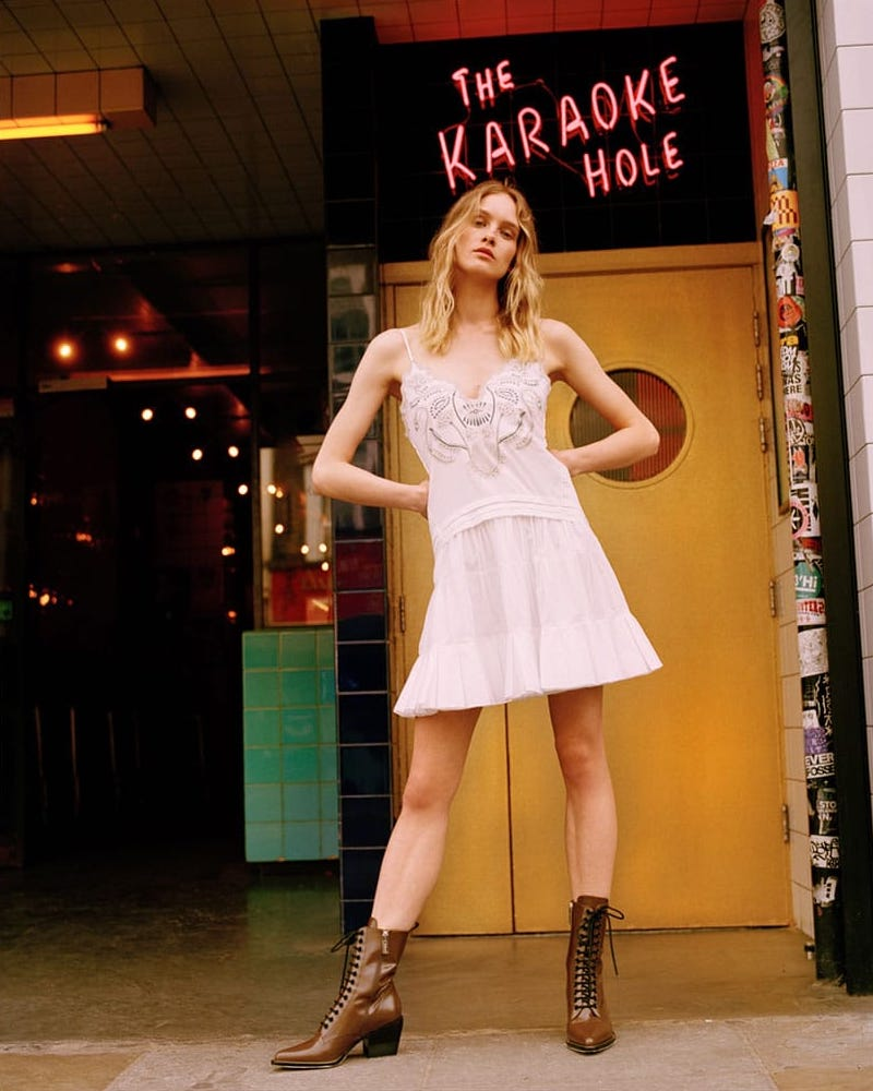 Chloé V-Neck Embroidered Cotton-Voile Mini Dress
