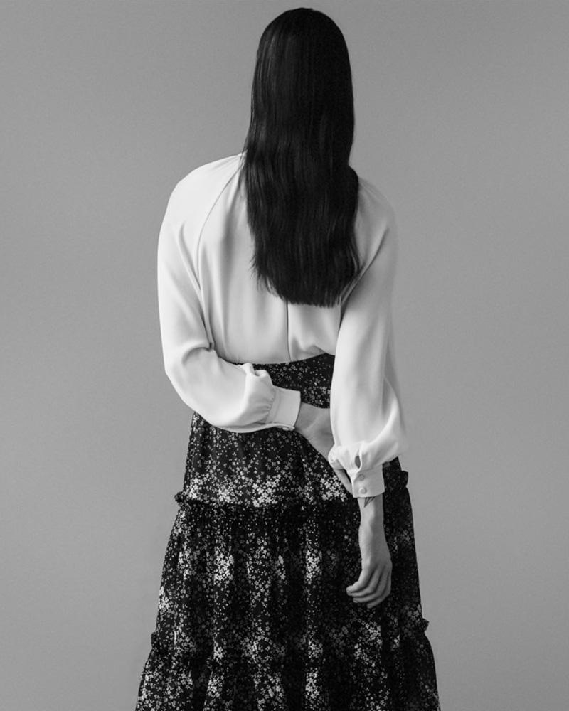 Co Floral Wool Gauze Midi-Skirt