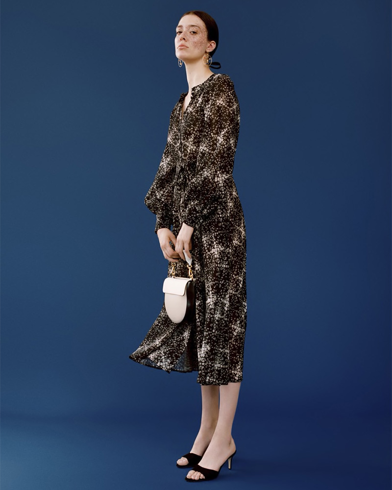 Co Floral Wool Gauze Shirtdress