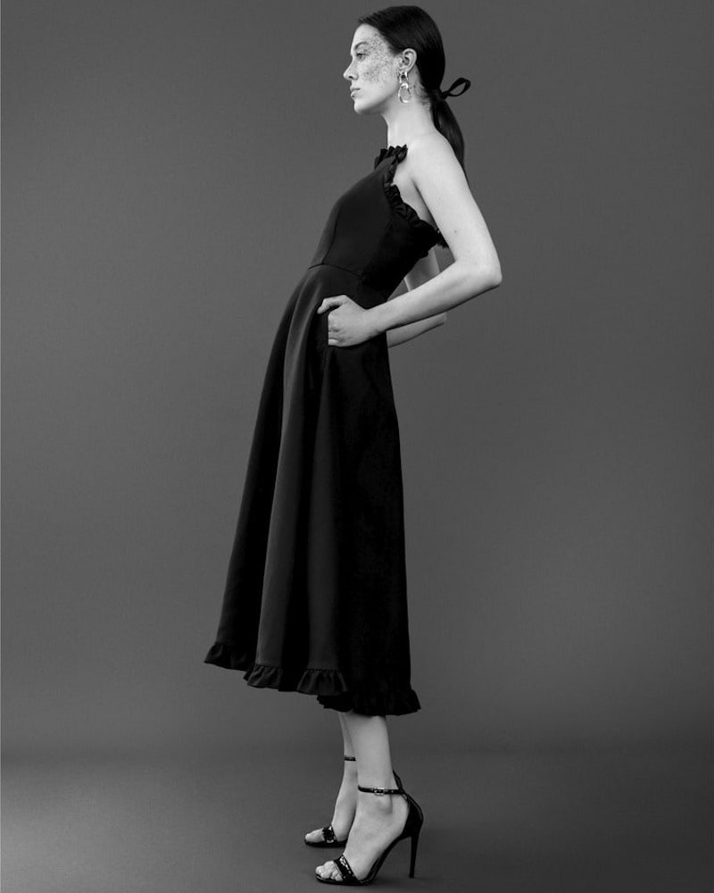 Co Wool-Blend Faille Midi-Dress