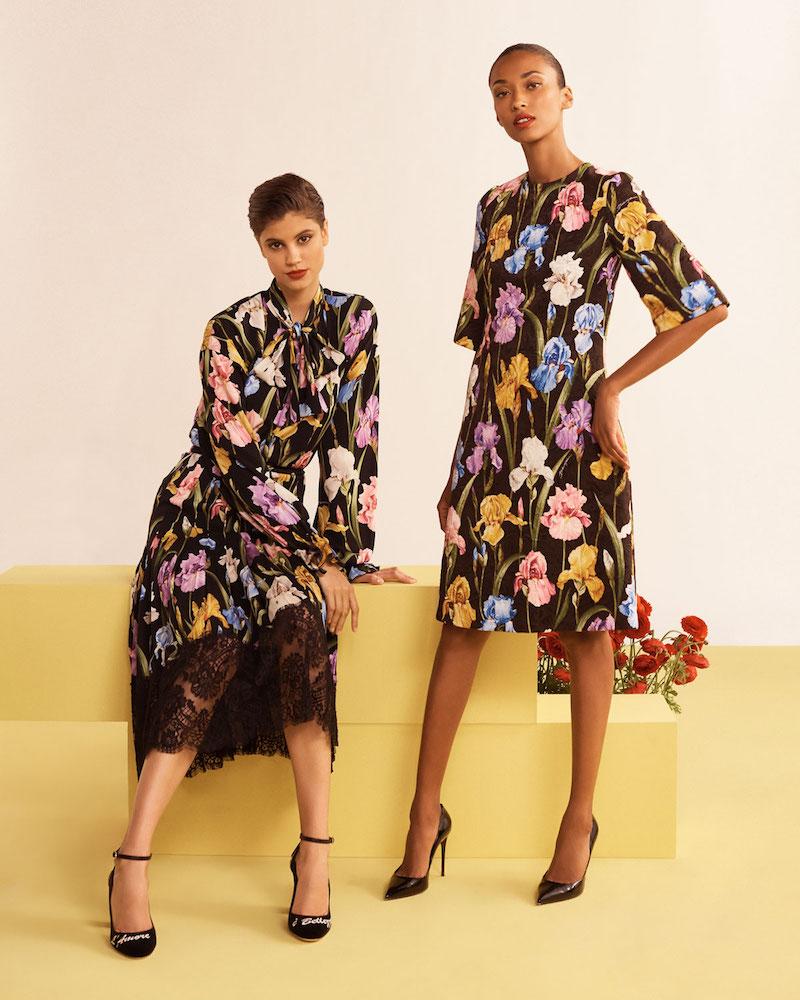 Dolce & Gabbana Elbow-Sleeve Iris-Print A-Line Brocade Dress