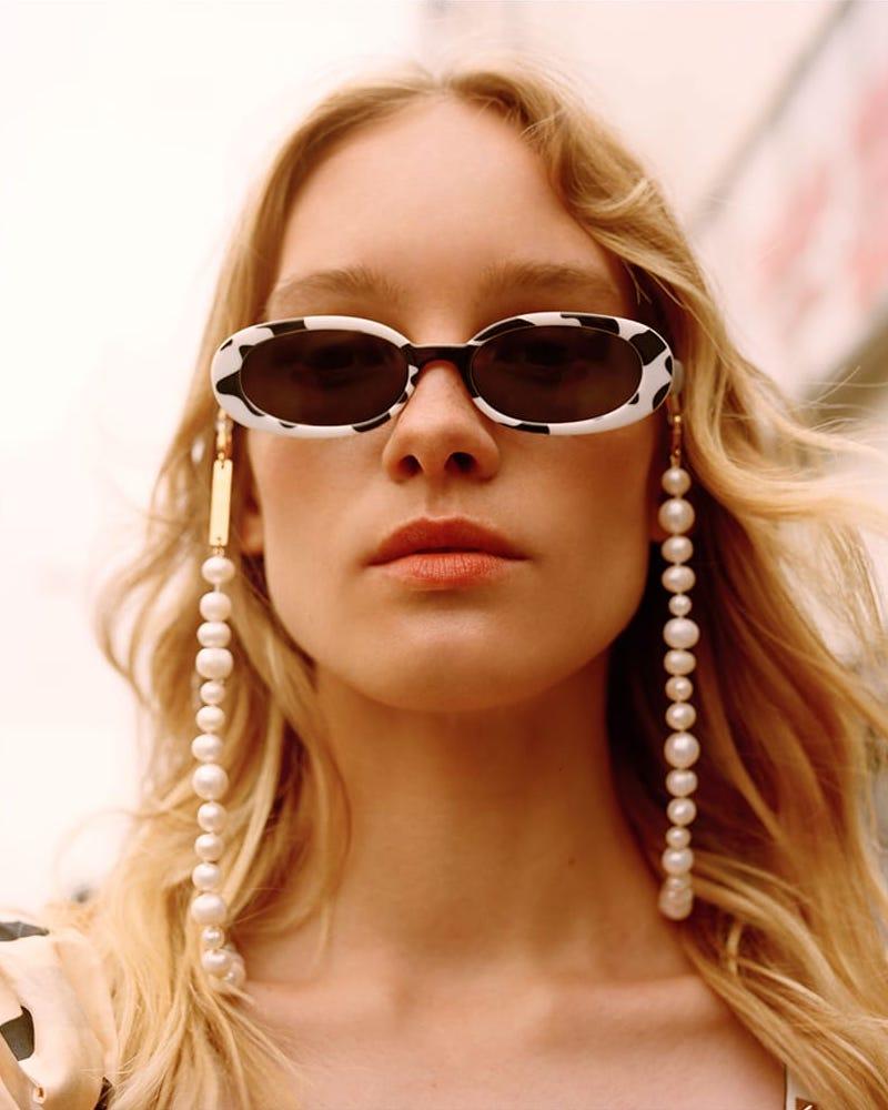 Le Specs Outta Love Safari-Print Oval-Frame Sunglasses