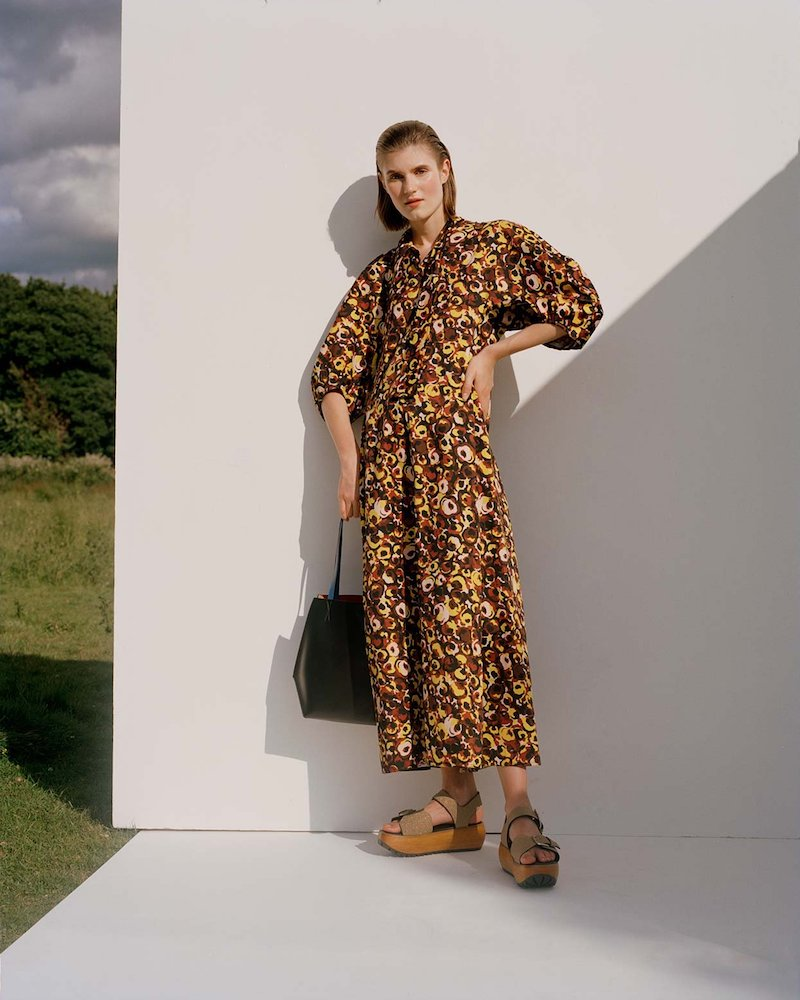 Marni Floral-Print Tie-Neck Dress