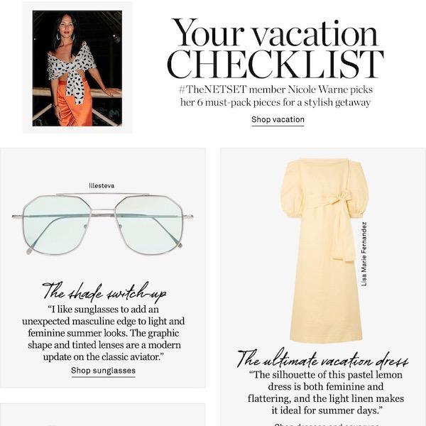 NET-A-PORTER the Chic List // Summer 2018 Vacation Checklist