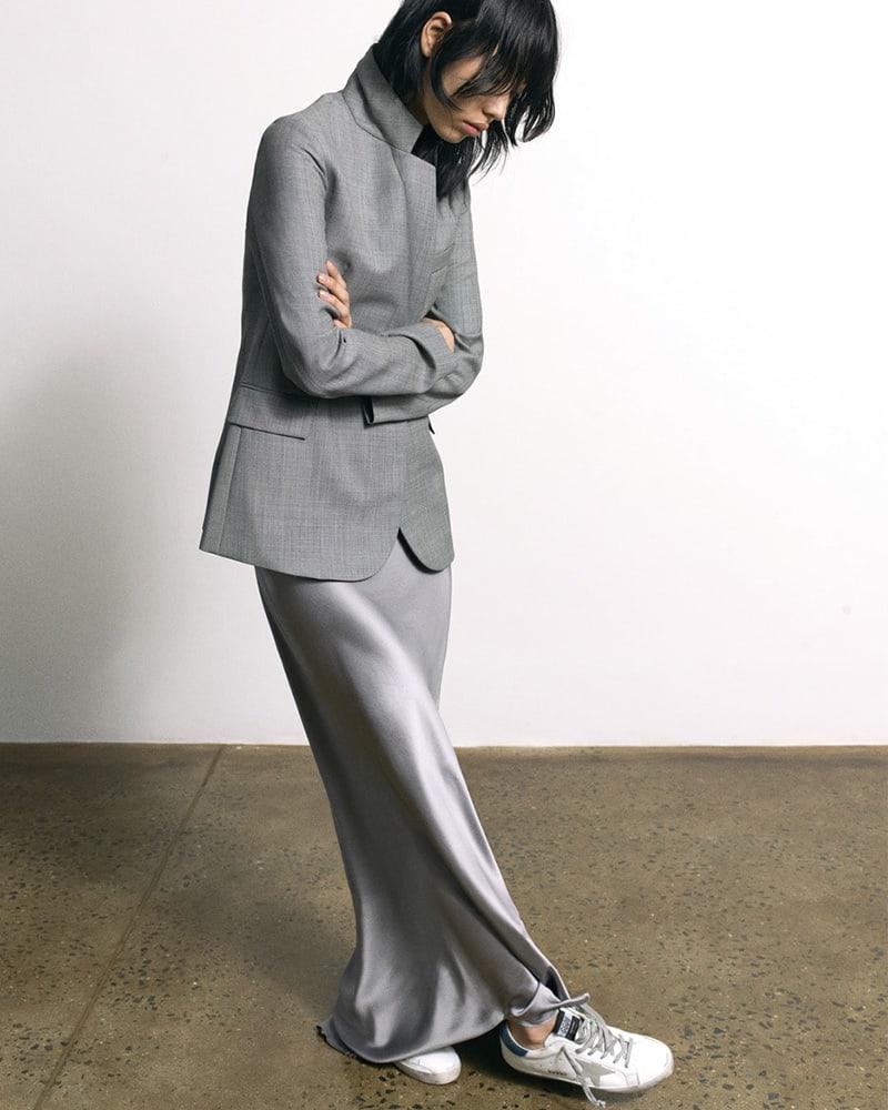 Nili Lotan Classon Sharkskin Wool Blazer