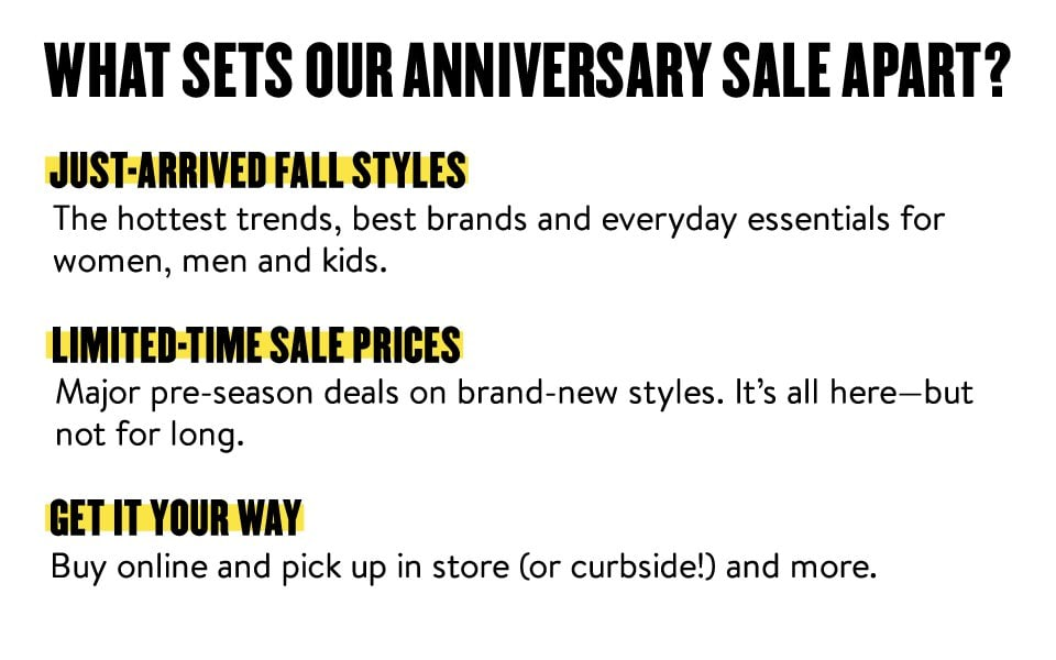 What sets our Anniversary Sale apart? Just-arrived fall styles. Limited-time sale prices. Get it your way.