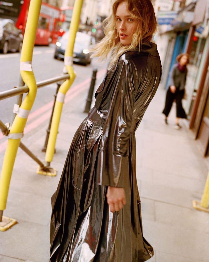 Norma Kamali Tie-Waist Metallic Trench Coat